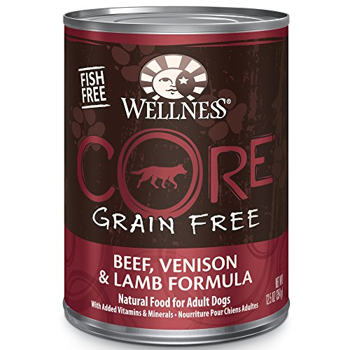 Dog Canned Formula - Wellness Core® Natural Wet Grain Free Canned Dog Food, Beef, Venison & Lamb, 12.5-Ounce Can (Pack of 12)
