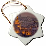 3dRose Danita Delimont - Cities - Qatar, Doha, FANAR, Qatar Islamic Cultural Center, elevated view, dusk - 3 inch Snowflake Porcelain Ornament (orn_257255_1)