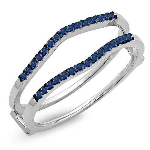 DazzlingRock Collection 0.18 Carat (ctw) 14K White Gold Round Blue Sapphire Ladies Wedding Band Guard Double Ring (Size - Ring Bridal Sapphire Guard
