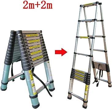 QARYYQ Escalera telescópica hogar Loft portátil ingeniería Plegable sección de bambú Escalera de equilátero aleación de Aluminio Taburete (Size : 2m+2m): Amazon.es: Electrónica