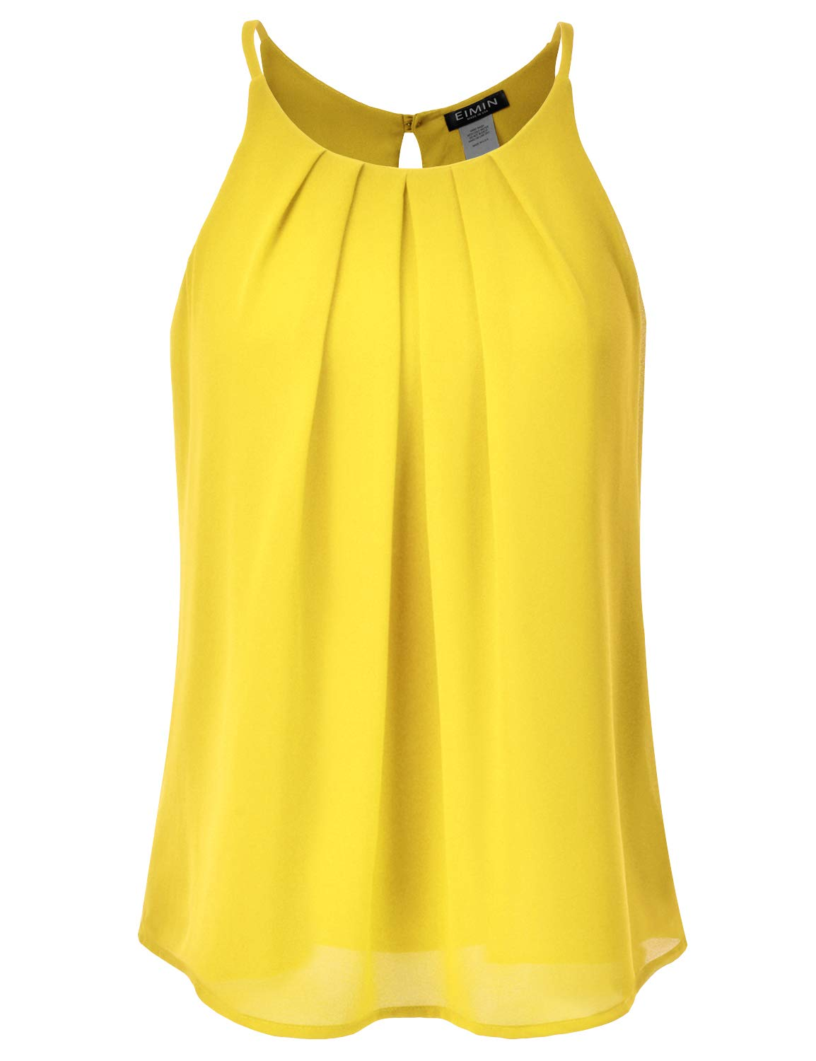 EIMIN Women's Crewneck Pleated Front Double Layered Chiffon Cami Tank Top Yellow 2XL