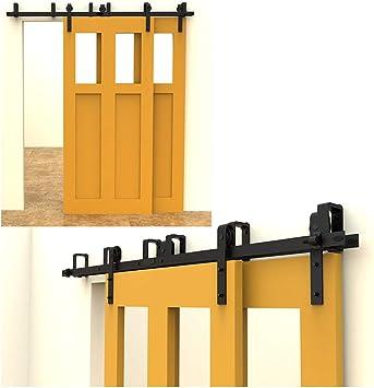 213cm(7FT) Kit de guía para puerta corredera Bypass Ferretería Polea de Rail suspendida sistema de puerta interiores en madera granero armario cuarto de, negro: Amazon.es: Bricolaje y herramientas