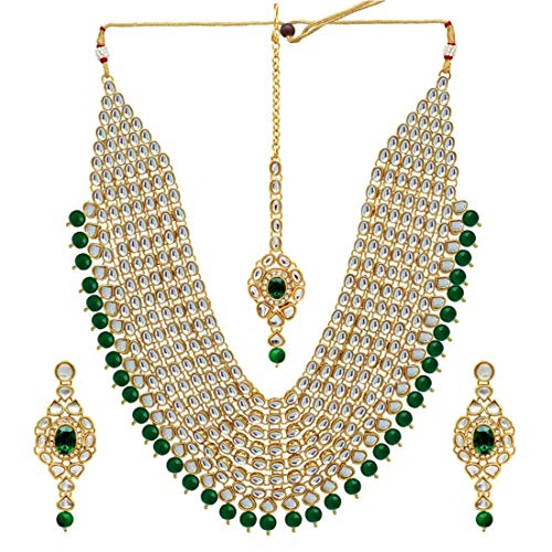 YouBella Jewellery Bollywood Ethnic Bridal Wedding Traditional Faux Kundan Indian Necklace Set with Earrings for Women (Green)
