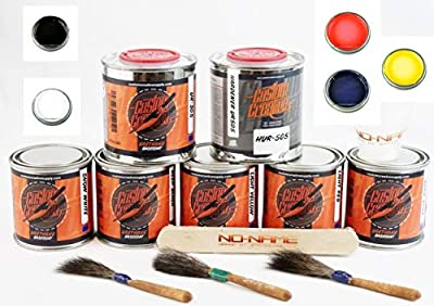 Custom Creative Primary Colors Set Lettering Enamel-Pinstripe Urethane Paint with Brushes and Bonus by SprayGunner