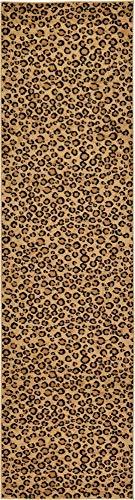 Cheetah Animal Print Rug - Unique Loom Wildlife Collection Leopard Animal Print Light Brown Runner Rug (2' 7 x 10' 0)