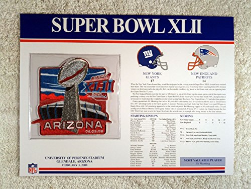 Super Bowl XLII (2008) - Official NFL Super Bowl Patch with complete Statistics Card - New York Giants vs New England Patriots - Eli Manning MVP