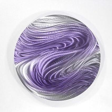 Amazon.com: Purple & Silver Round Metal Wall Art - Contemporary Wall ...