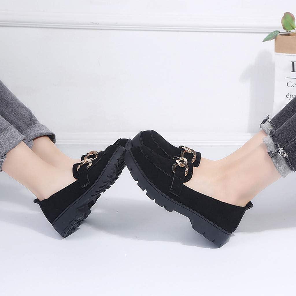 WORMENG Mocasines para Mujer con Hebillas de Piel Loafer Zapatos Barco de Ciudad Classic Confort – Barco de Ciudad – Barco de Ciudad – Zapatillas Planas Classic Confort – Barniz/Ante Negro C-Black