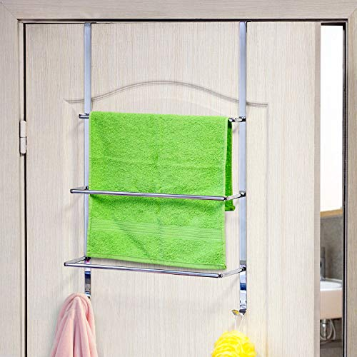 - ArtMoon Luck Over Door 3-Tier Towel Rail With 2 Hooks Chrome Plated Steel 45 X 10.5 X 69 cm