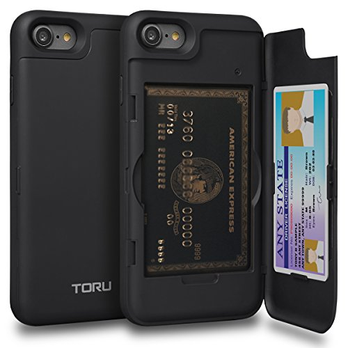 TORU [CX PRO] iPhone 8 Wallet Case with Hidden ID Slot Credit Card Holder Hard Cover & Mirror for Apple iPhone 7 / iPhone 8 - Matte Black