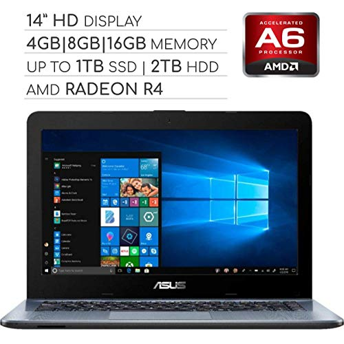 ASUS Vivobook 2019 Premium 14 HD Non-Touch Laptop Notebook Computer, 2-Core AMD A6 2.6GHz, 4GB|8GB|16GB RAM, 128GB|256GB|512GB|1TB SSD, 1TB|2TB HDD, No DVD, Wi-Fi|Bluetooth|Webcam|HDMI|VGA,Windows 10