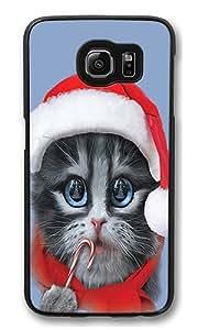 Samsung Galaxy S6 Edge Case, Big Face Xmas Kitty High Quality Hard Shell Snap-on Case for Samsung Galaxy S6 Edge Black Bumper