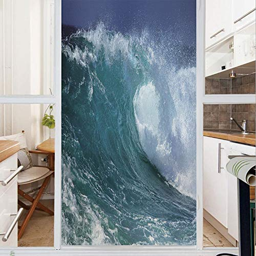 Decorative Window Film,No Glue Frosted Privacy Film,Stained Glass Door Film,Crashing Foamy Ocean Water Splashes Freshness Danger Breaking Rolling Sea,for Home & Office,23.6In. by 78.7In Turquoise Whit