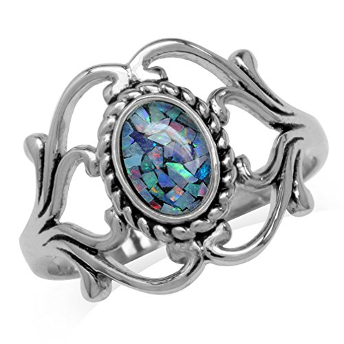 Silvershake Mosaic Opal White Gold Plated 925 Sterling Silver Victorian Style Rope Ring Size 6