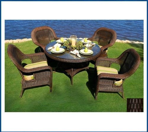 Tortuga Outdoor Garden Patio Lexington 5-Piece Dining Set 4 dining chairs, 1 large dining table - - Chair Lexington Club Tortuga