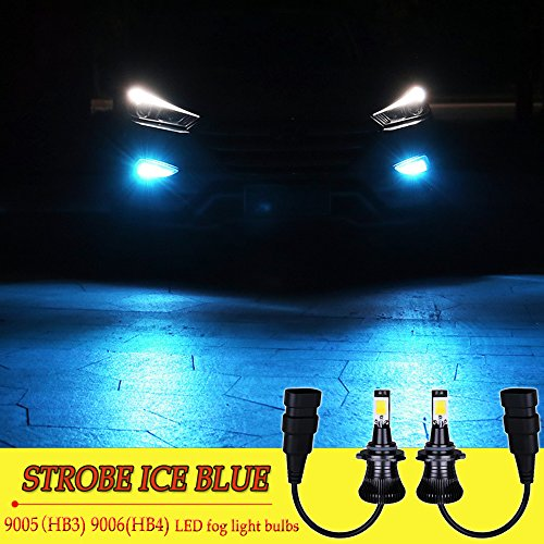 amazon com 9006 9005 led fog lights bulb hb4 hb3 led bulbs ice blue