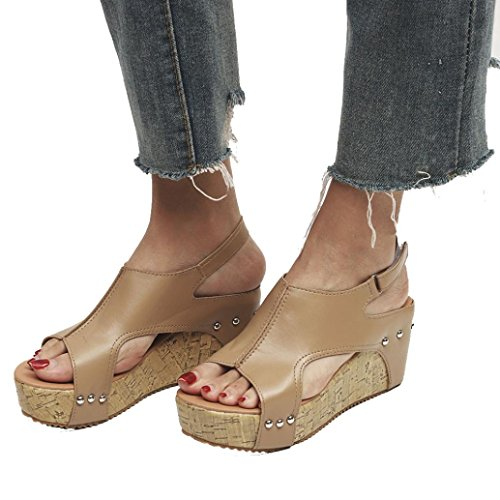 rms Wedges Sandals, Fashion Casual Solid Open Round Head Shoes Hook Loop(Khika,US 6.5) ()