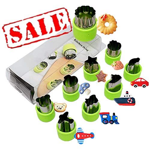 Vegetable Cutter Shapes Set of 9 Piece - Mini Cookie Cutters, Vegetable Shape Cutters including Plane, Ship, Train, Car & Star for Kids (Mini Car Shape)