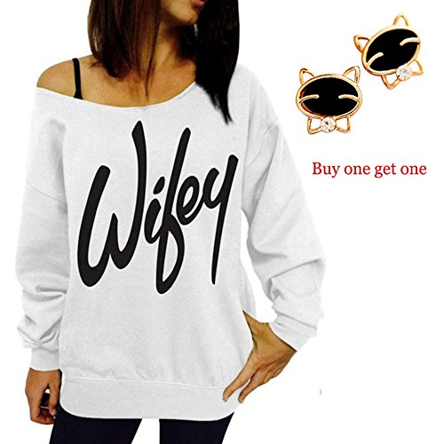 Laimeng, Women Womens Letter Print Loose Sweatshirt Casual Pullover Top + Free Crystal Earrings