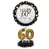 Happy 60th Birthday Balloon Centerpiece Black and Gold for Milestone Birthday