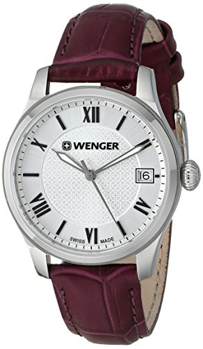 Wenger Ladies Terragraph Watch, Silver Dial Aubergine Leather Strap 521.103