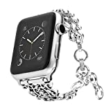 Maxjoy Bling Bands Compatible with Apple Watch Band 42mm 44mm, Vintage Chain Jewelry Women Bracelet with Rhinestone Bling Replacement for iWatch Series 5/4/3/2/1 Nike+ Sport Edition Silver