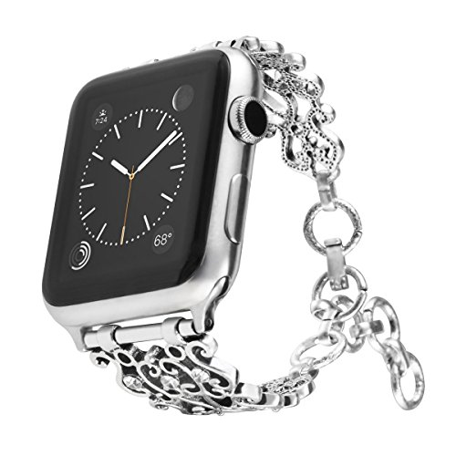 Maxjoy Bling Bands Compatible Apple Watch Band 42mm 44mm, Vintage Chain Jewelry Women Bracelet with Rhinestone Bling for iWatch Series 4/3/2/1 Nike+ Sport Edition Silver
