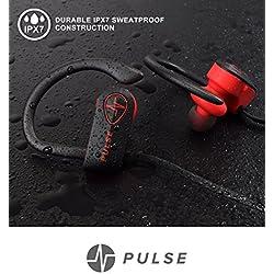 PULSE SG900 Headphones, 2018 Wireless Earbuds for Sports Activities, Running, Gym. 8 Hour Battery, IPX7 Waterproof, Sweatproof, Noise Cancelling Earphones w/Mic. 1-Year Warranty (RED)