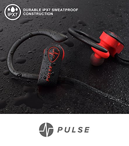 Pulse SG900 Wireless Earphones with Mic - Noise Reduction Headphones for Gym, Sport and Running - 6-8-Hour Battery, Connect to 2 Phones - Premium Quality, Sweat and Waterproof (Pulse Start Arm)