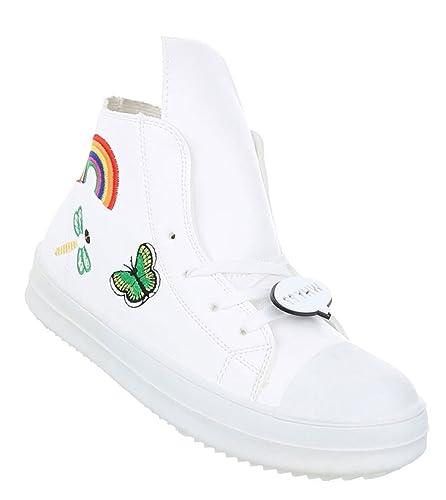 Schuhcity24 Damen Sneakers Leder Optik Ausgefallene Hohe Schuhe