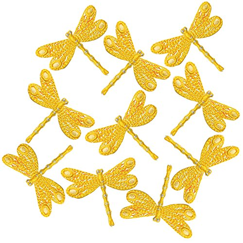 XUNHUI 10Pcs Yellow Dragonfly Patches for Clothing Jeans Iron On Appliques Embroidered Fabric Patch Sewing Dragonfly Clothing Embroidered Shirt