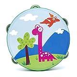 Yingealy Educational Toy 18cm Baby Hand Drum Wooden Flower Tambourine Percussion Instrument (Herbivorous Dinosaur)