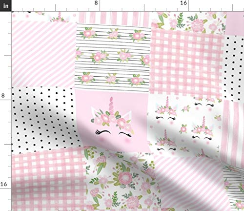 Spoonflower Pink Unicorn Whole Cloth Fabric - Unicorn Unicorn Quilt Quilt Cheater Quilt Nursery Girls Stripes Polka Dot by Charlottewinter Printed on Satin Fabric by The Yard