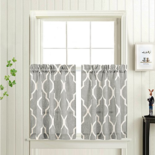 (Grey Moroccan Tile Print Tier Curtains for Kitchen Lattice Cafe Curtains 24 inches Long Short Kitchen Window Curtain Sets for Bathroom 1 Pair )