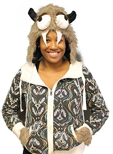 Sleepy Furry Horned Monster Laplander Hat Costume Accessory (Mens Monster Costume)