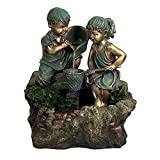 Boy & Girl Playing in Water Outdoor Fountain with LED Light by Sunnydaze Decor