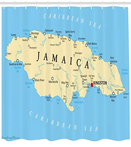 Jamaican Shower Curtain, Map of Jamaica Kingston Caribbean Sea Important Locations in Country, Fabric Bathroom Decor Set with Hooks, Pale Blue Beige Black
