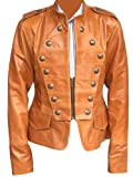 Leather Outfitters Women Military Style Leather Jacket - Large - Brown