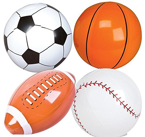 36PC 9'' SPORTS BALL INFLATE ASSORTMENT, Case of 16 by DollarItemDirect