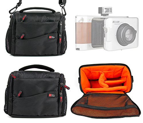 Price comparison product image DURAGADGET Deluxe Quality,  Shock-Absorbing & Water-Resistant Shoulder / Messenger Bag in Black & Orange for the Lomography Belair X6-12 Trailblazer,  X6-12 Cityslicker & X6-12 Jetsetter