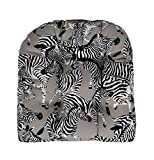 "RSH Décor Indoor Outdoor Wicker Tufted U - Shape Chair Cushion - Black, Grey/Gray & White Zebra Fabric Cushion (19""W x 19""D)"