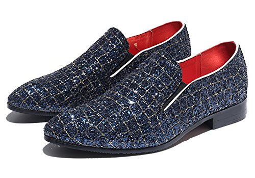 Fashion Blue on Moccasins Checkered Santimon Loafer Mens Smoking Slipper Dress Glitter Shoes Casual Metallic Slip q06S0xw
