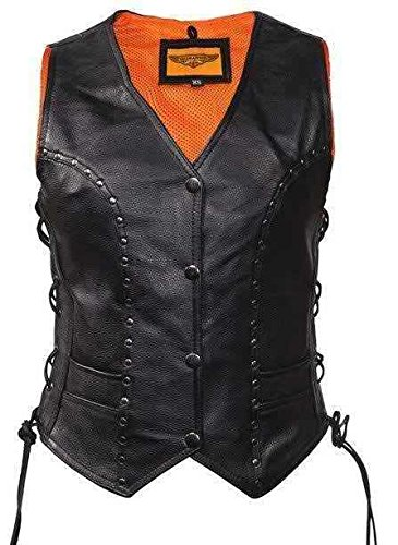 Women's Motorcycle Black Leather Vest W/4 Snap, Side Lace, Studded, Gun Pocket(M)