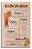 Sex on the Beach - Cocktail Recipe (10x15 Wood Wall Sign, Wall Decor Ready to Hang)