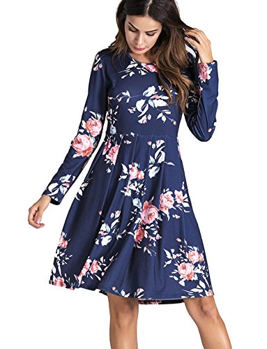 Yomoko Women's Long Sleeve Casual Dress With Floral Print Pleated Below Loose Swing Tunic T-Shirt (Blend Pleated Dress)