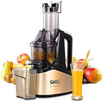"SKG Slow Masticating Juicer Extractor with Wide Chute (240W AC Motor, 43 RPMs, 3"" Big Mouth) Anti-Oxidation Lower Noisy - Vertical Masticating Cold Press Juicer"