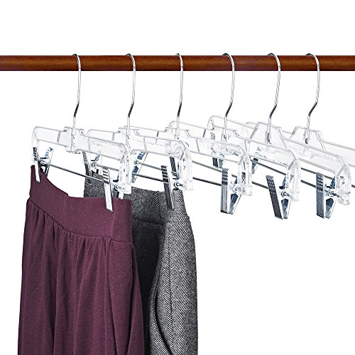 HOUSE DAY Skirts Hangers 14 inch Pack of 50 Clear Plastic Skirt Hangers with Clips, Pant Hangers, Bottom Hangers, Bulk Plastic Hangers by HOUSE DAY