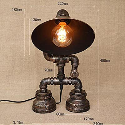 DMMSS Cage Iron Horn Cap Indoor Vintage Industrial Metal Pipe Tap Pipe Lamp Boy Posture