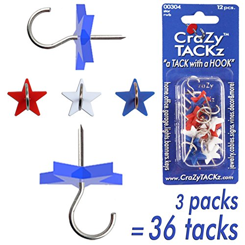 CraZy TACKz STARs Red, White & Blue 3pk=36 tacks New Invention - 2 for 1: push pins & hook - Hang 100's of Items & Interior or Exterior Decor at - How Paper Sunglasses To Make