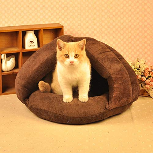 Brown FANQIECHAODAN Pet Cat And Small Dog Bed Round Burrow Pet Bed for Dogs&Cats